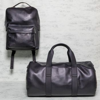 Black man handbag and backpack isolated