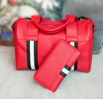 Red man handbag and wallet isolated