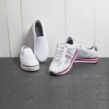 White sneakers, man shoes isolated