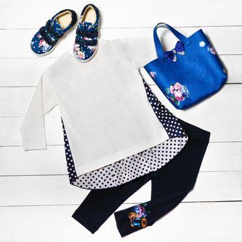 Casual girl dress, shirt, pants, bag shoes top view
