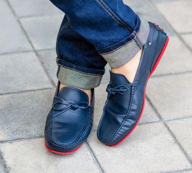 Men's classic blue shoes close up