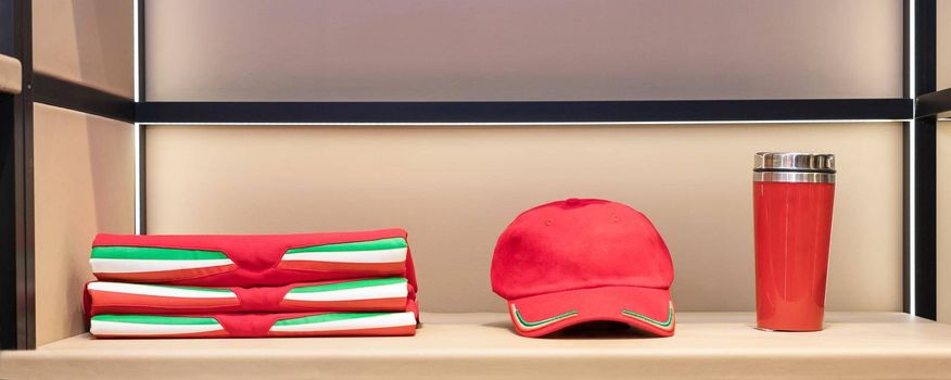 Red cup cap and t-shirt set isolated