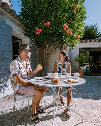 breakfast by the pool of an luxury hotel in the Provence France