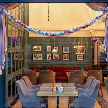 Christmas decorated restaurant interior