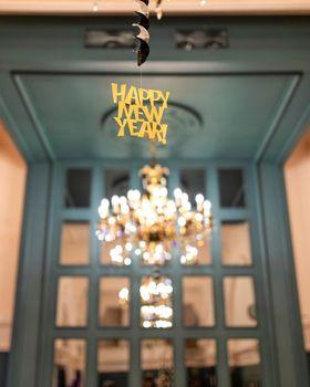 Happy New Year sticker in the restaurant interior