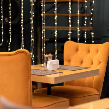 Restaurant table with Christmas decoration