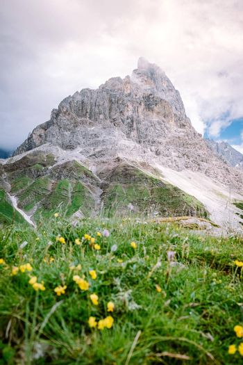 Pale di San Martino from Baita Segantini - Passo Rolle italy,Couple visit the italian Alps, View of Cimon della Pala, the best-know peak of the Pale di San Martino Group in the Dolomites, northern Italy Europe