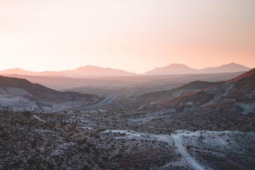 A highway running through the desert.