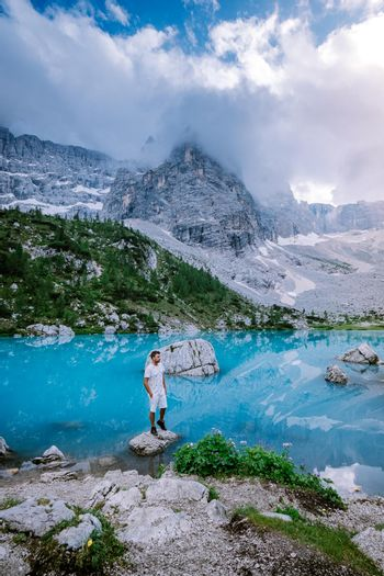 Blue green lake in the Italian Dolomites,Beautiful Lake Sorapis Lago di Sorapis in Dolomites, popular travel destination in Italy