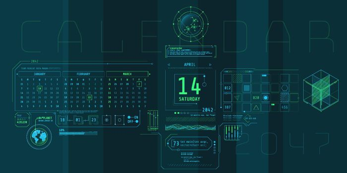 Composition of computer HUD interface with Calendar.
