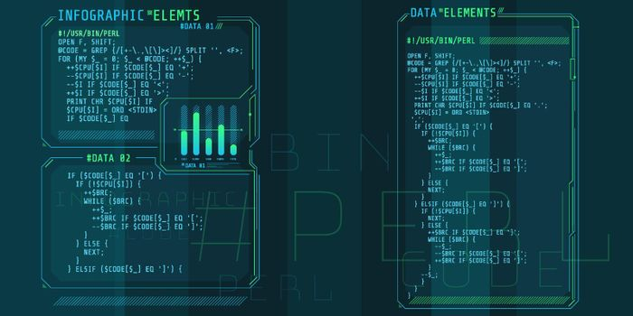 HUD interface elements with part of the code Perl.