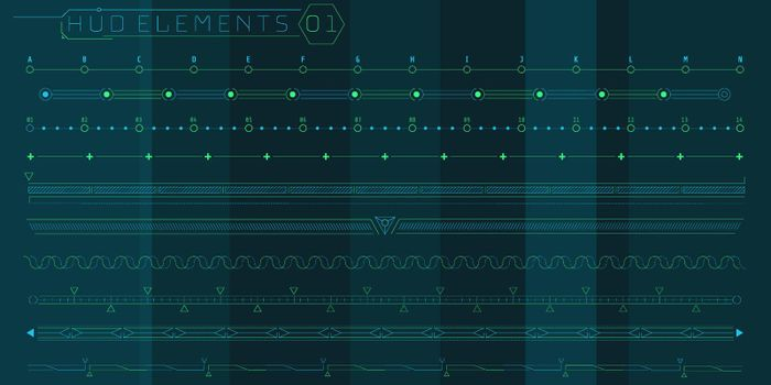 A set of HUD lines elements for a futuristic interface.