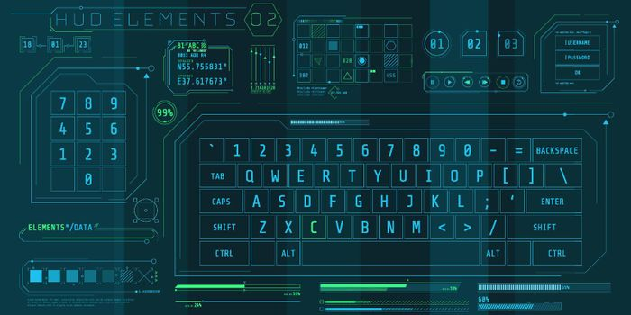 A set of HUD keyboards elements for a futuristic interface.