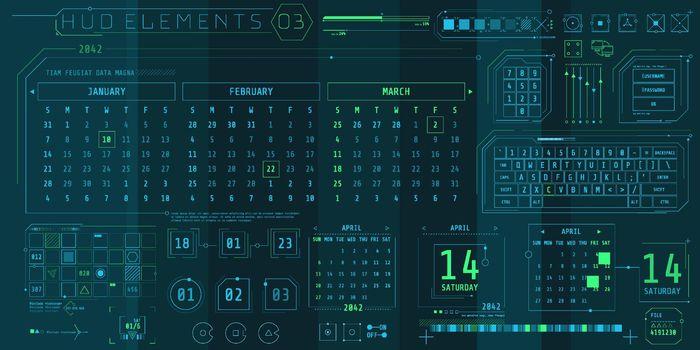 A set of HUD calendars elements for a futuristic interface.