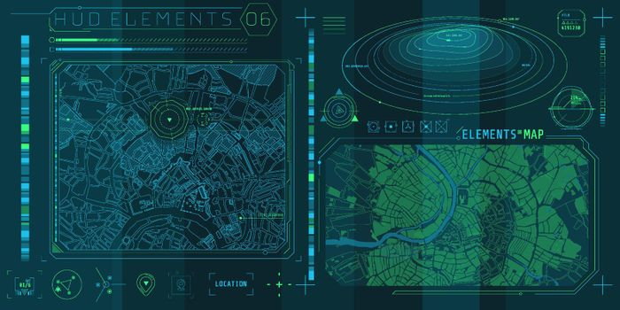 A set of HUD maps elements for a futuristic interface.