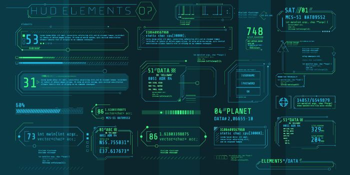 A set of HUD text elements for a futuristic interface.