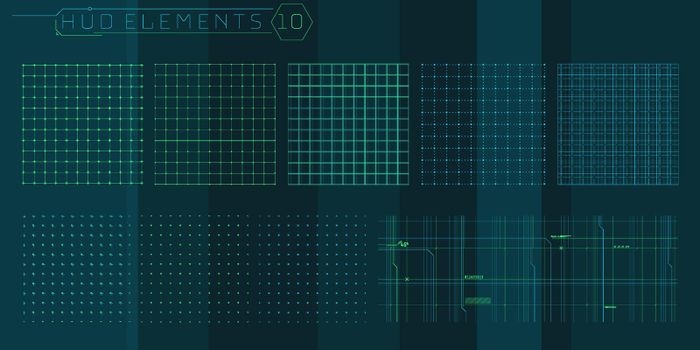 A set of HUD grids elements for a futuristic interface.