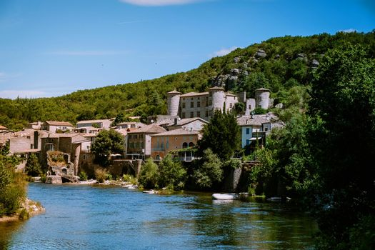 Ardeche France, view of the village of Vogue in Ardeche. France
