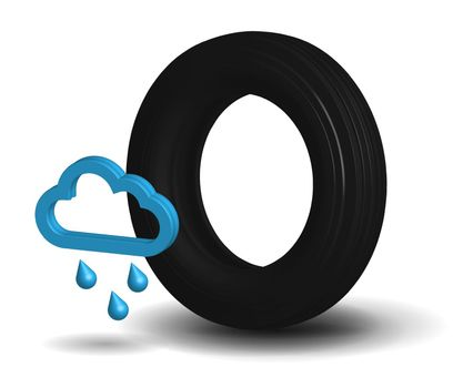 Wet car tire in realistic 3D performance on a transparent background with a rain icon