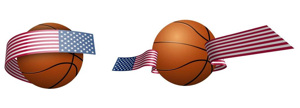 balls for basketball in ribbons with the colors of American flag. Design element for basketball competitions. USA national team. Isolated vector on white background