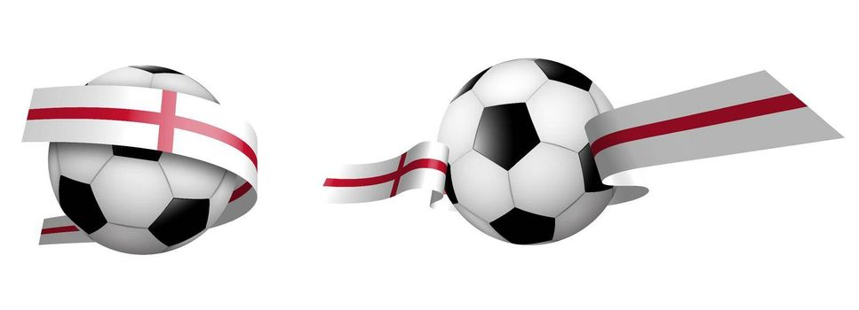 balls for soccer, classic football in ribbons with colors of English flag. Design element for football competitions. English national team. Isolated vector on white background