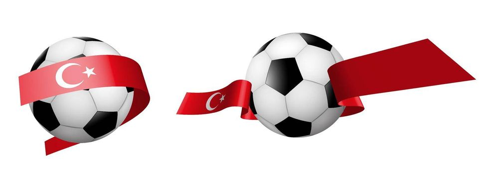 balls for soccer, classic football in ribbons with colors of Turkish flag. Design element for football competitions. Turkish national team. Isolated vector on white background