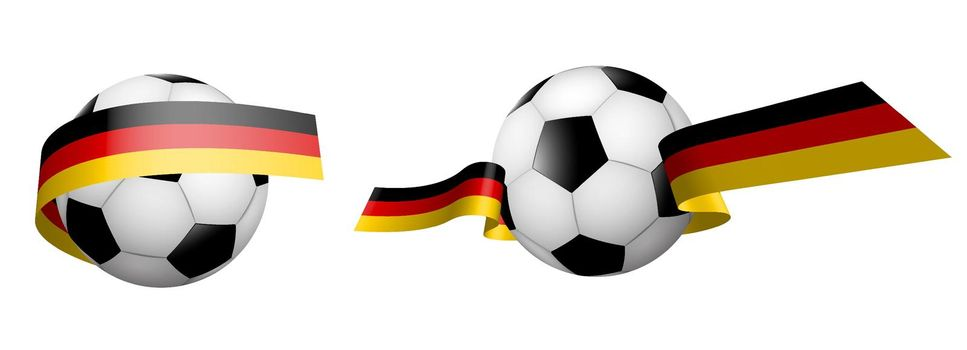 balls for soccer, classic football in ribbons with the colors of the German flag. Design element for football competitions. German national team. Isolated vector on white background