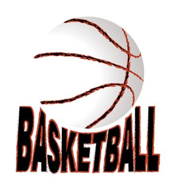 basketball grunge logo. Sketchy ball and the inscription. Print for poster, t-shirt, fabric. Vector on a white background