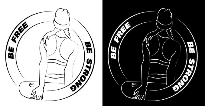 Be strong be free, slogan with the girl a skater. Stands with his back and looks forward. Logo, print for clothes
