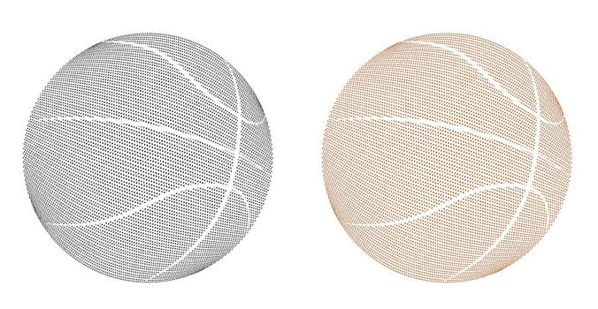 basketball ball icons with relief covering style. Team sports, active lifestyle. Isolated vector on white background