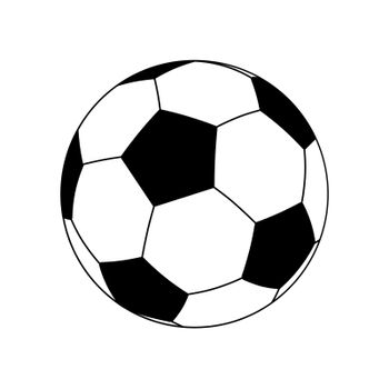 Black and white classic soccer ball in a flat style. Isolated vector on white background
