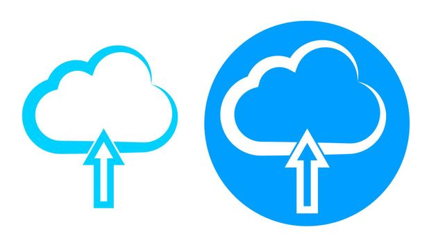 Cloud data download icon. Blue cloud with download arrow