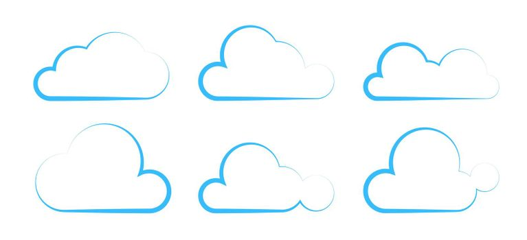 decorative set of white clouds with a blue stroke. Isolated vector