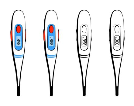 electronic thermometer with a normal body temperature of 36.6 and elevated 39.6 degrees Celsius. Health and disease prevention. Isolated vector on white background