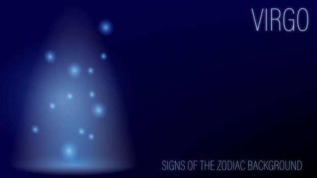 glowing background from a series of zodiac signs, Virgo. Dark blue layout, vector with constellation