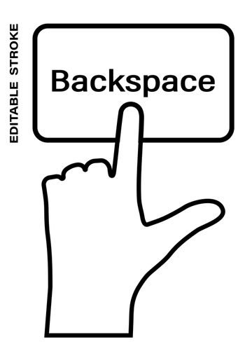 Icon editable stroke, human hand presses the keyboard button Backspace with the index finger. Getting help, additional information. Isolated vector on white background