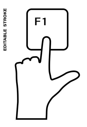 Icon editable stroke, human hand presses the keyboard button F1 with the index finger. Getting help, additional information. Isolated vector on white background