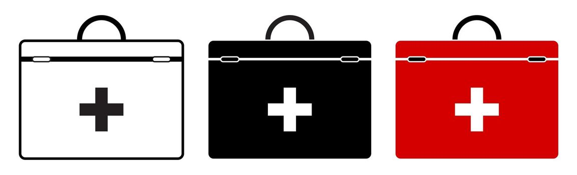 icon set red first aid kit for resuscitation. Health recovery in emergency situations. Isolated vector in a flat style on a white background