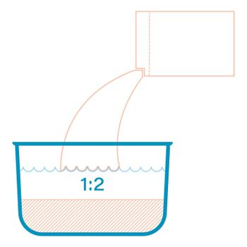 icon, infographics. Packaging design element. From the box, cereal or bulk product is poured into the pan in a ratio of 1 to 2. Part of the set of icons for the preparation of products. Vector