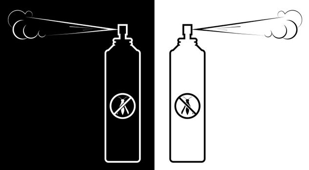 icon, spray bottle insect repellent. Fighting dangerous parasites. Isolated black white vector