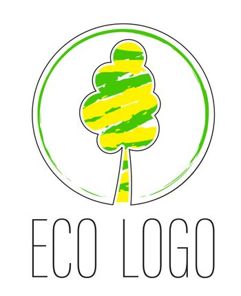 logo, stylized tree in yellow-green color. Ecology, care for nature. Isolated vector on white background