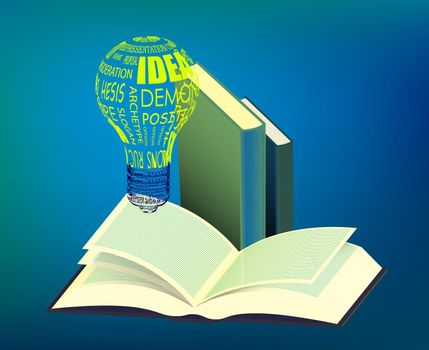 light bulb glows over an open book. Reading books, the importance of education. Getting important information and ideas in the library. Vector illustration