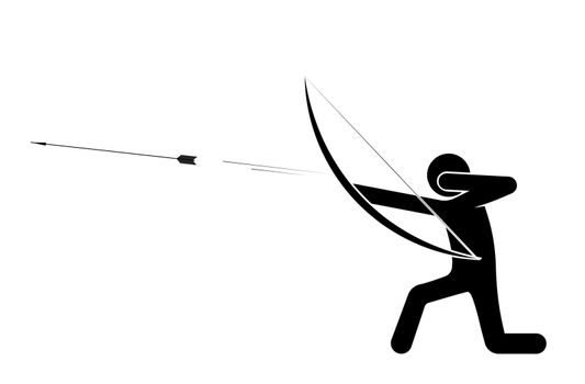 man, the archer fired an arrow at the target, standing on his knee. Shooter athlete. Isolated vector on white background