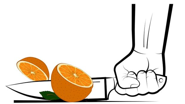 mans hand cuts a ripe juicy orange with a big knife. Preparation of vitamin cocktails. Vegetarian food. Banner, poster. Bright summer design element on white background