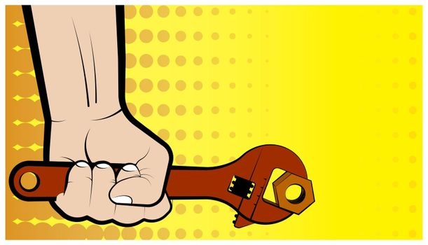 mans hand holds a big wrench. Comic style illustration. Vector
