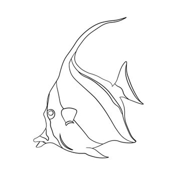 marine aquarium fish. Children linear drawing for coloring. Vector on white