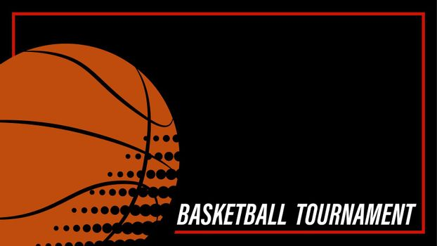 orange basketball ball, template, layout for the competition poster on a black background. Team sports