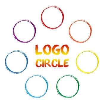 rainbow color circles for logos. Imitation of a paint painting. Isolated vector on white background