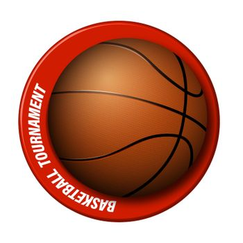 realistic basketball ball with a ring around. Logo for the championship, basketball competition. Team sports, active lifestyle. Isolated vector on white background
