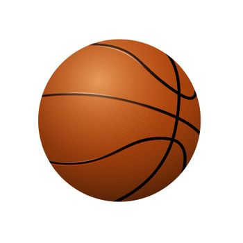 Realistic classic orange basketball on blank background. Team sports. Isolated vector